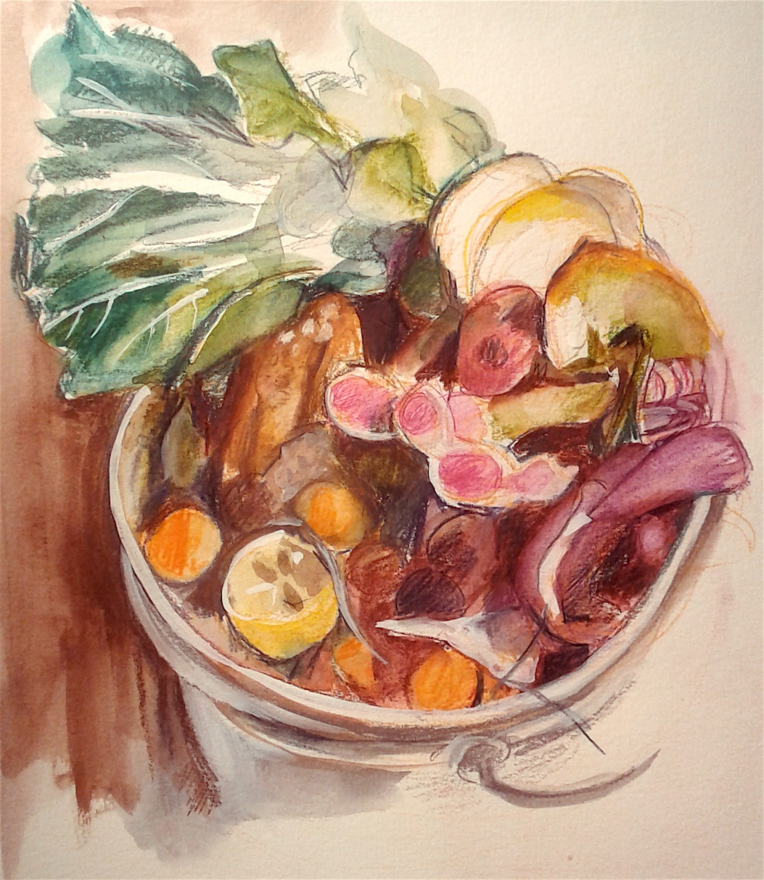 compost watercolor